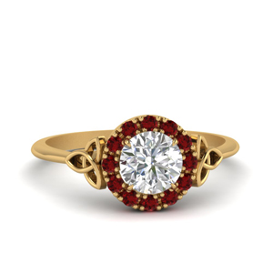 Celtic Halo Ring With Ruby