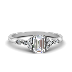 Celtic Knot Emerald Cut Moissanite Ring