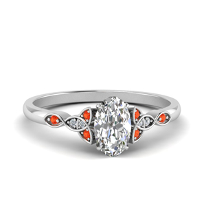 Platinum Orange Topaz Knot Ring