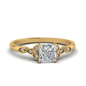 Celtic Princess Cut Moissanite Ring