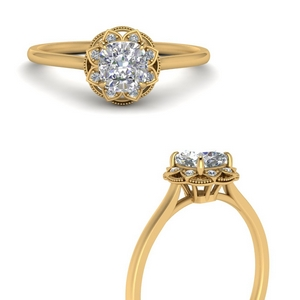Flower Cushion Diamond Halo Ring