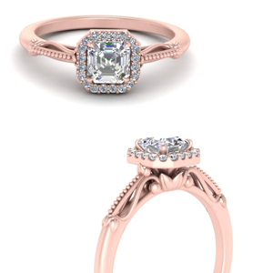 Rose Gold Floral Shank Engagement Ring