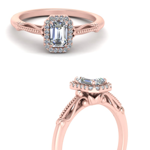 delicate vintage engagement ring with emerald cut halo in 14K rose gold FD124330EMRANGLE3 NL RG