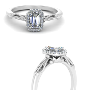 Moissanite Emerald Cut Milgrain Rings