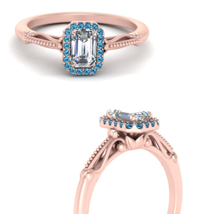 delicate vintage blue topaz engagement ring with emerald cut halo in 14K rose gold FD124330EMRGICBLTOANGLE3 NL RG