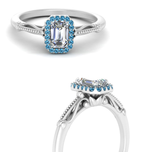 delicate vintage blue topaz engagement ring with emerald cut halo in 18K white gold FD124330EMRGICBLTOANGLE3 NL WG