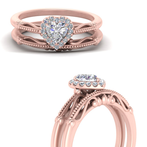 Halo Petite Ring And Wedding Band