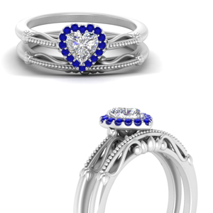 Sapphire Halo Wedding Ring Set