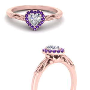 Heart Shaped Purple Topaz Halo Rings