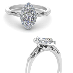 Marquise Shaped Halo Engagement Rings