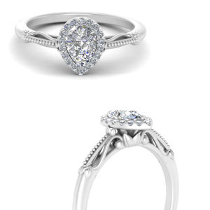 1 Carat Pear Lab Diamond Ring