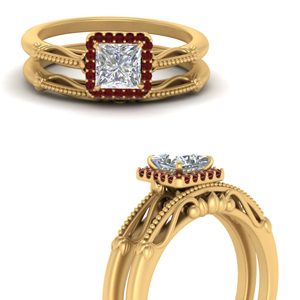Princess Cut Halo Ruby Wedding Set
