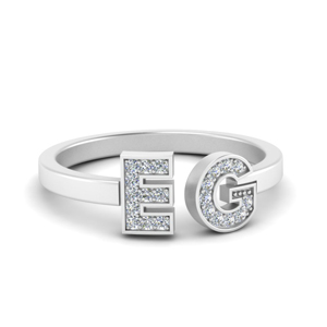 Letter Diamond Ring For Girlfriend