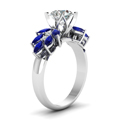 round cut nature inspired marquise diamond ring with blue sapphire in FD12655RORGSABLANGLE2 NL WG