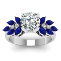 round cut nature inspired marquise diamond ring with blue sapphire in FD12655RORGSABLANGLE5 NL WG
