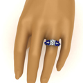 round cut nature inspired marquise diamond ring with blue sapphire in FD12655RORGSABLHAND NL WG