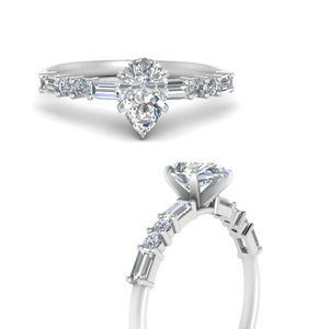 Pear Shaped Moissanite Side Stone Ring