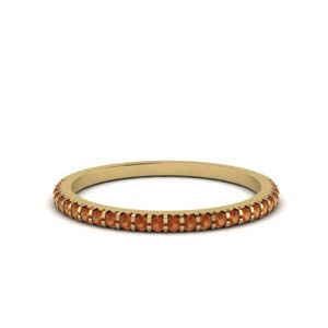 Thin Orange Sapphire Women Band