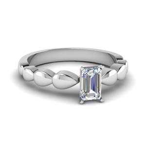 Petal Style Emerald Cut Ring