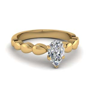 Teardrop Gold Solitaire Ring