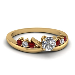 modern round diamond engagement ring with ruby in FD4490RORGRUDR NL YG