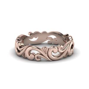 18K Rose Gold Womens Band