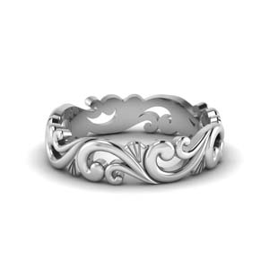 filigree womens wedding band in 18K white gold FD50063B NL WG