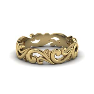 filigree simple wedding band for women in 14K yellow gold FD50063B NL YG