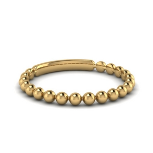 18K Yellow Gold Beaded Stackable Band