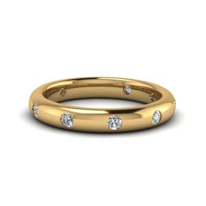 Flush Set Yellow Gold Wedding Band