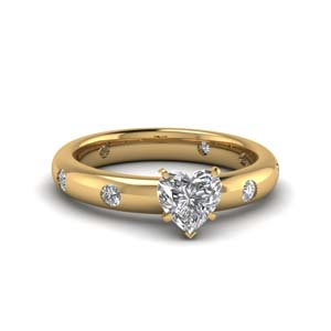 Flush Set Heart Diamond Ring