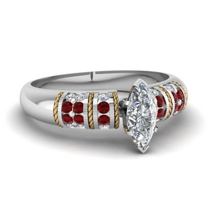 Marquise Multi Tone Ring With Ruby