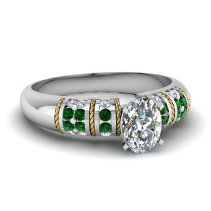 Oval Diamond Ring With Emerald