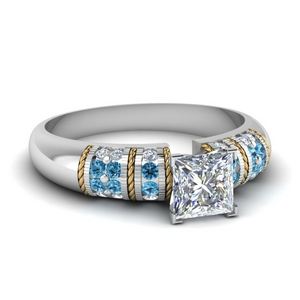 Princess Cut Diamond Ring With Topaz