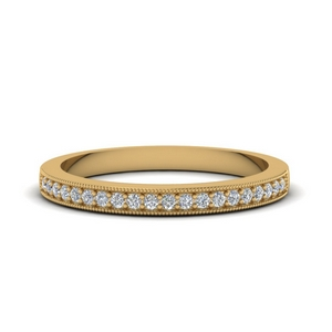 Simple Milgrain Pave Diamond Band