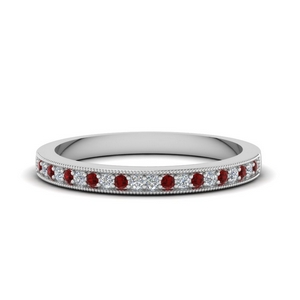 Milgrain Pave Ruby Band