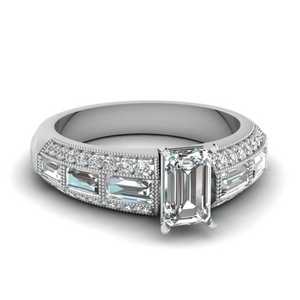 emerald cut 3 row baguette and round diamond vintage wedding ring in FD62254EMR NL WG
