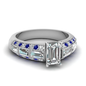 emerald cut 3 row baguette and round diamond vintage wedding ring with sapphire in FD62254EMRGSABL NL WG