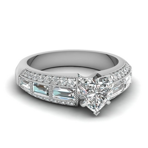 Milgrain Baguette Engagement Ring