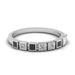Bezel Black Diamond Wedding Band
