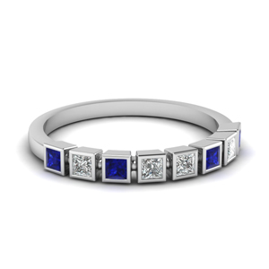 princess cut bezel diamond wedding band with sapphire in FD62276BGSABL NL WG