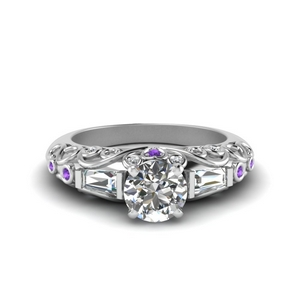 Purple Topaz Hand Engraved Ring