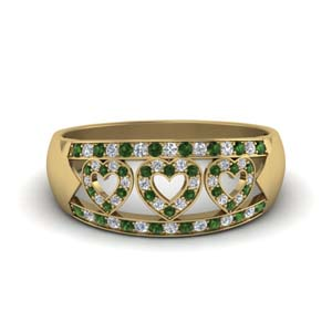 Emerald Heart Design Wedding Band