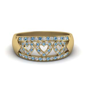 Yellow Gold Blue Topaz Band