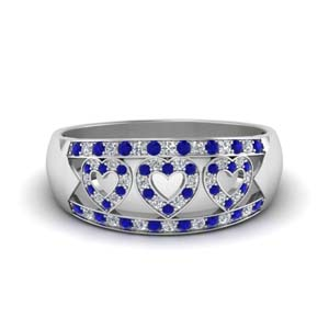 Wide Pave Heart Design Sapphire Band