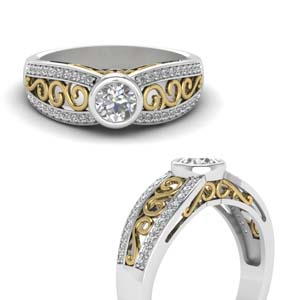 2 Tone Filigree Engagement Ring