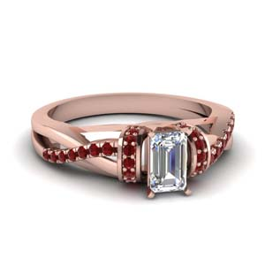 pave twisted emerald cut diamond engagement ring with ruby in 18K rose gold FD650953EMRGRUDR NL RG GS