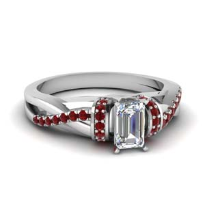 pave twisted emerald cut diamond engagement ring with ruby in 14K white gold FD650953EMRGRUDR NL WG GS
