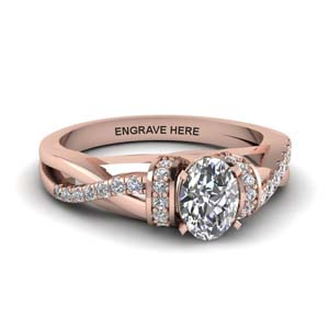 oval shaped personalized pave split diamond engagement ring in FD8659OVR NL RG EG
