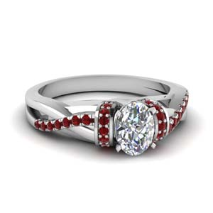 pave twisted oval shaped diamond engagement ring with ruby in 14K white gold FD650953OVRGRUDR NL WG GS